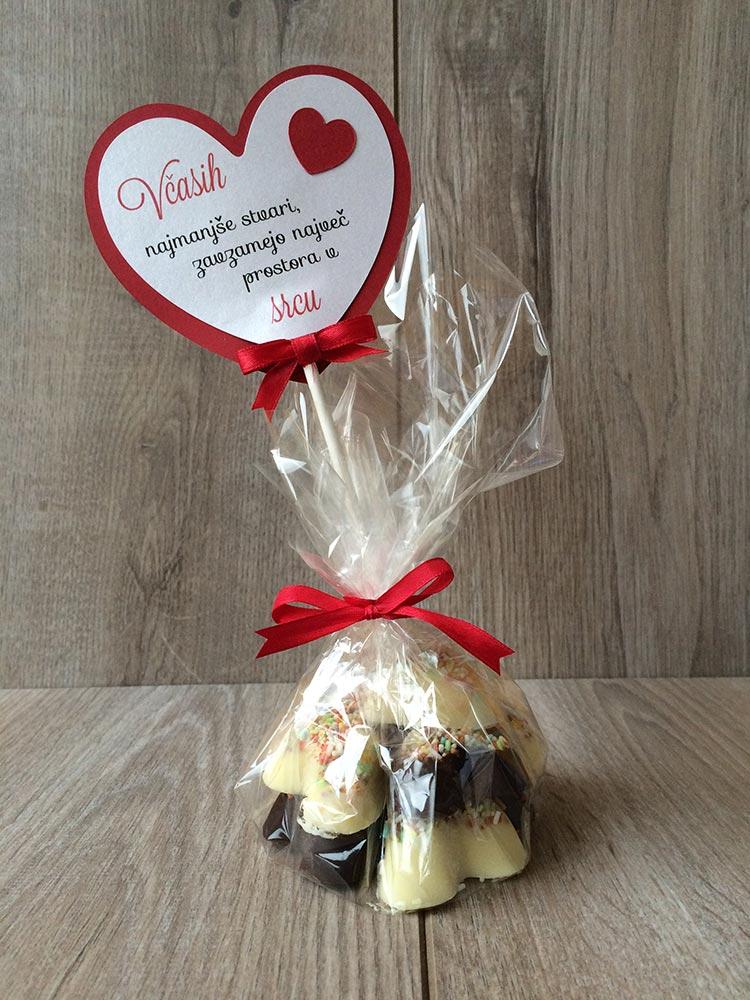 Čokoladni srčki - primer darila 3