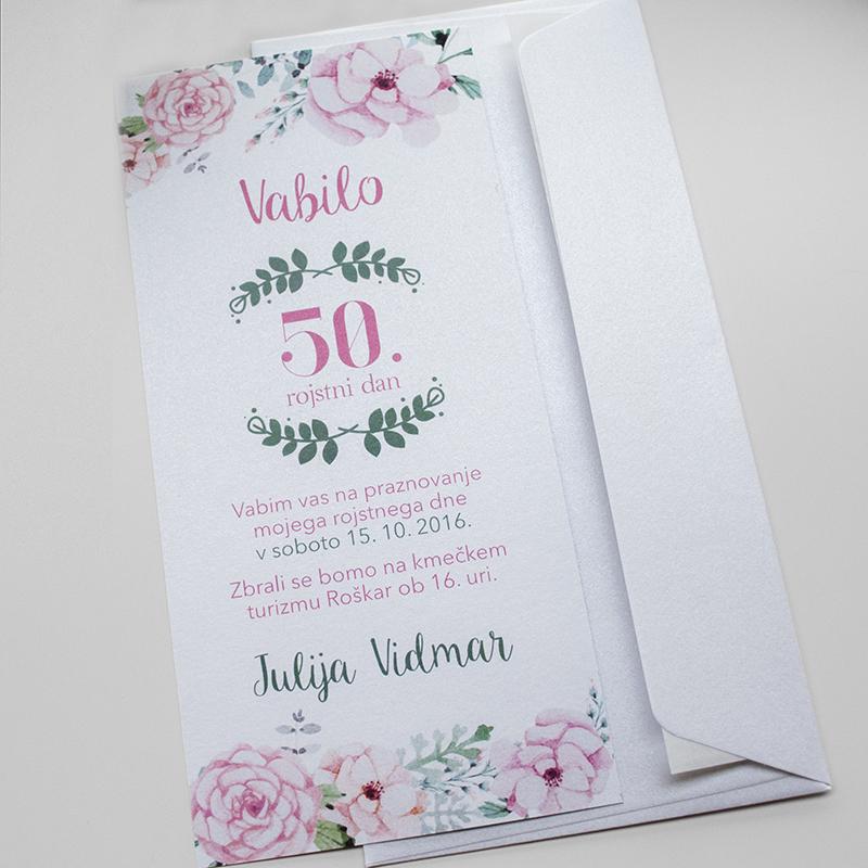 Vabilo 50ti rojstni dan - Nežno roza 5.1