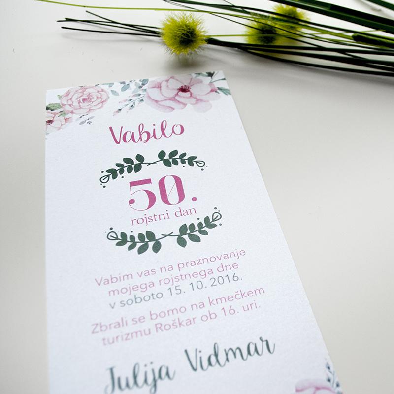 Vabilo 50ti rojstni dan – Nežno roza 5.2
