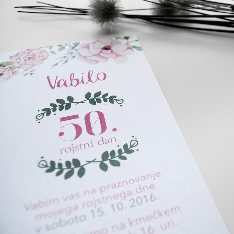 Vabilo 50ti rojstni dan – Nežno roza 5.3