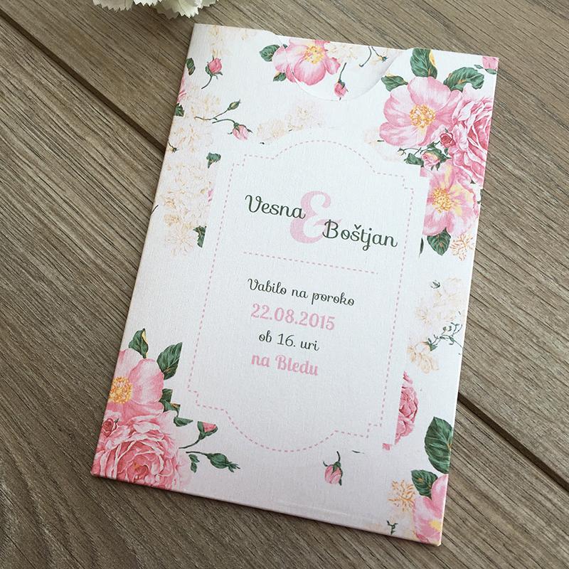 Poročno vabilo: V rožicah