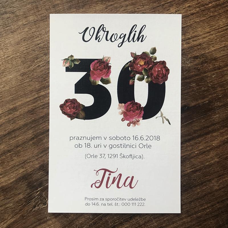 Vabilo za 30 rojstni dan: Vrtnice 1