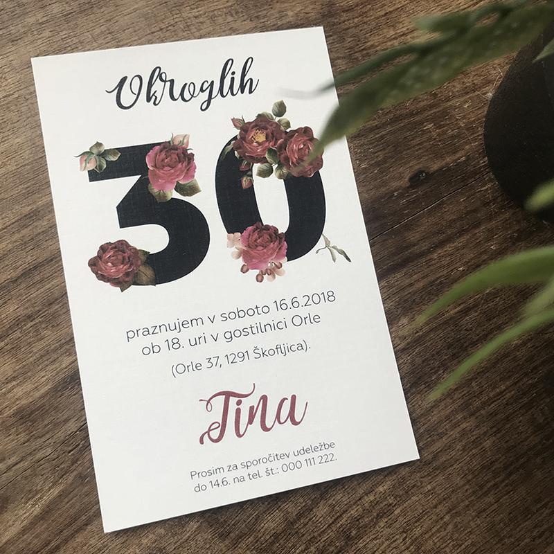 Vabilo za 30 rojstni dan: Vrtnice 2
