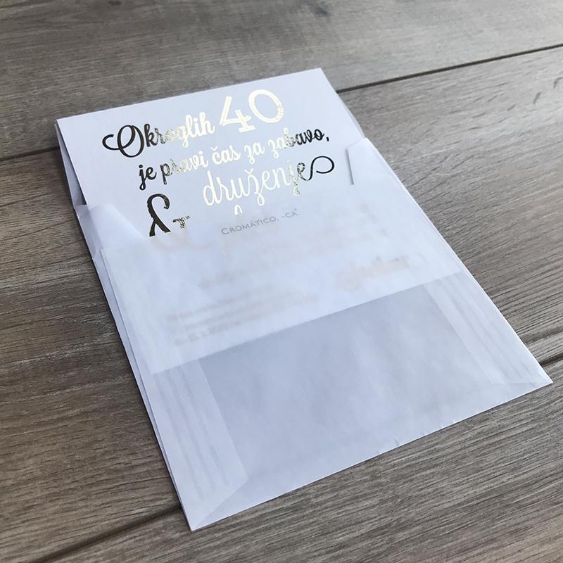 Vabilo Zlata 40 v prosojni kuverti