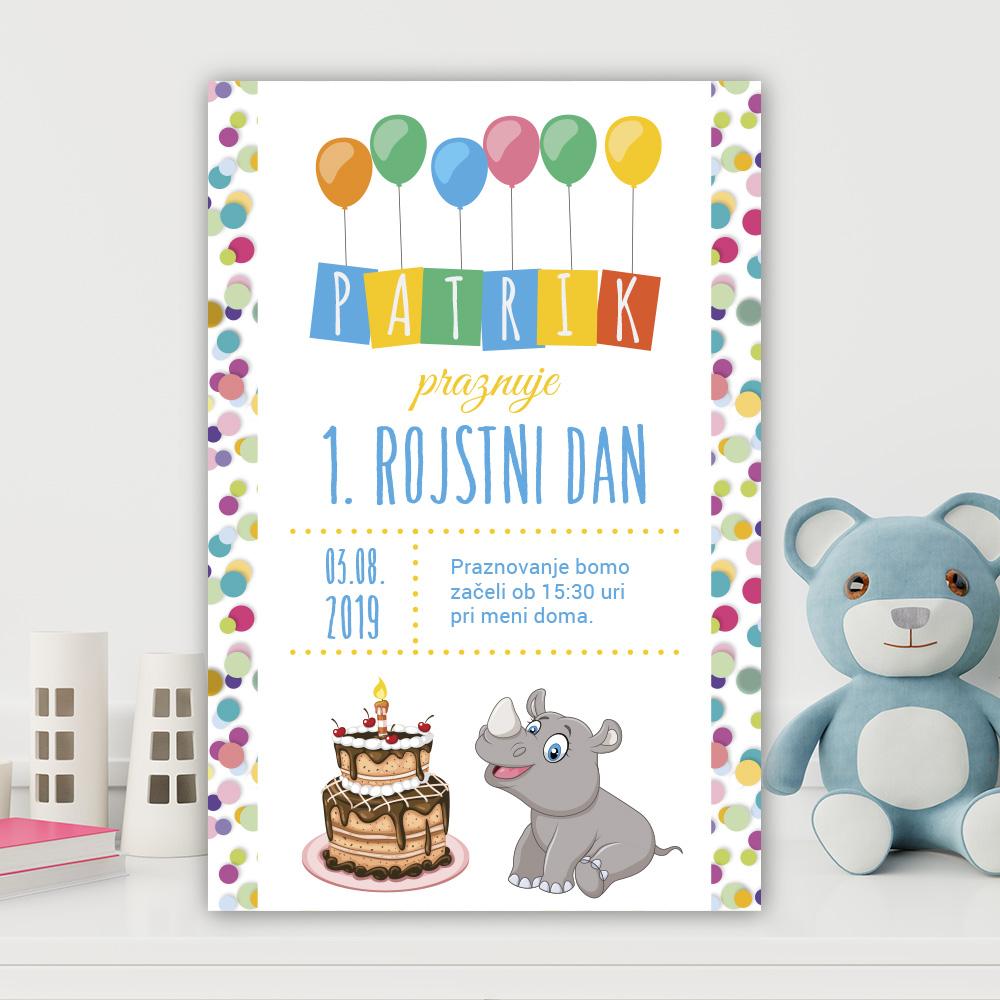 Vabilo za otroški rojstni dan: Nosorogec