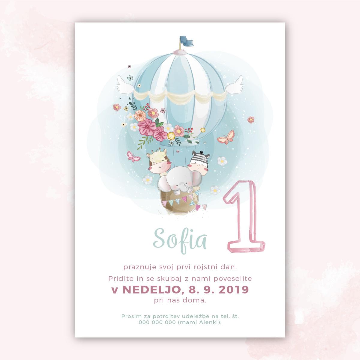Vabilo za prvi rojstni dan: Kjut 2