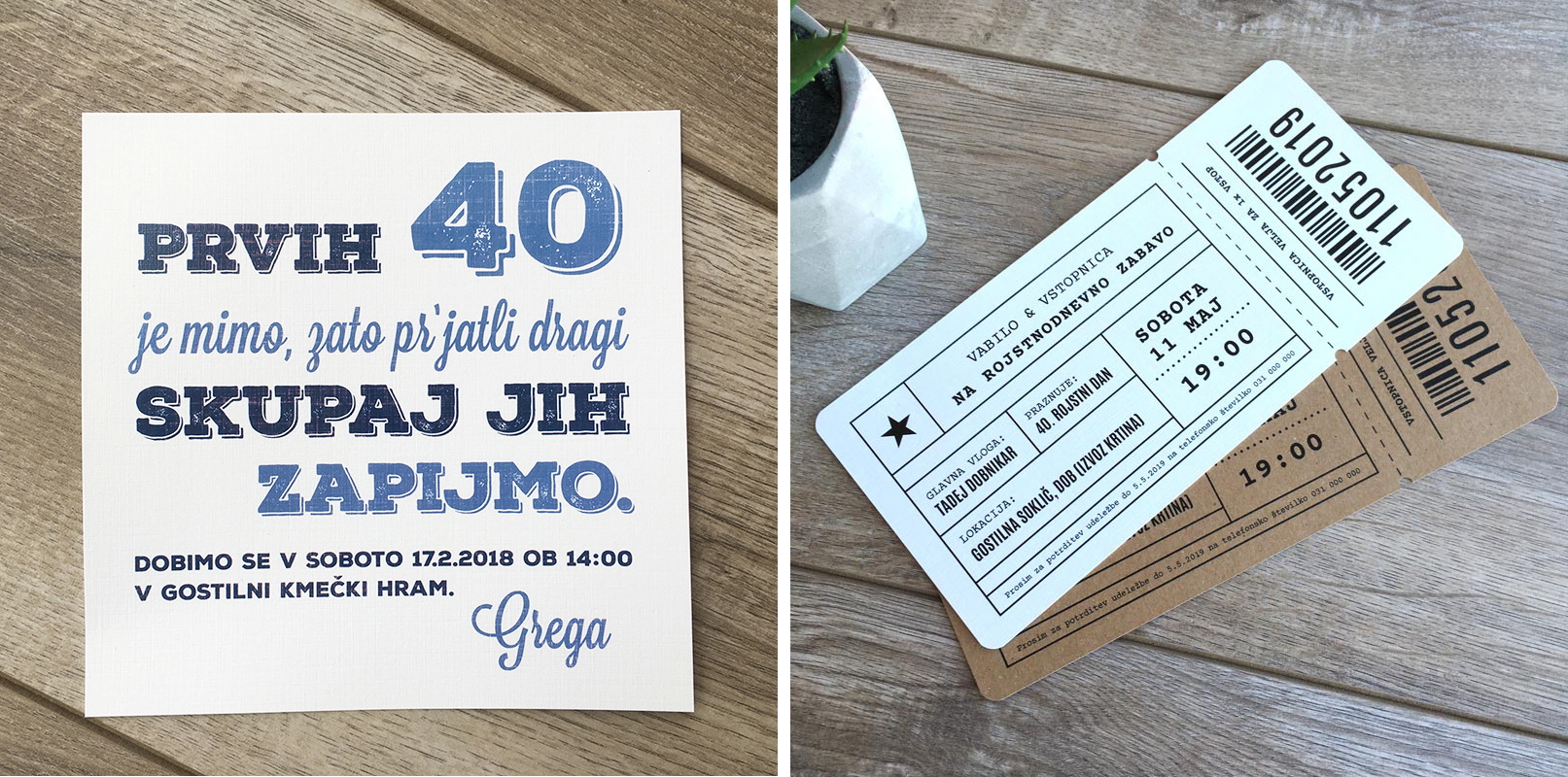 Vabilo za 40. rojstni dan