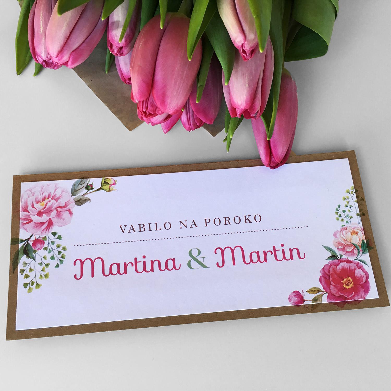 Poročno vabilo: Eko rože