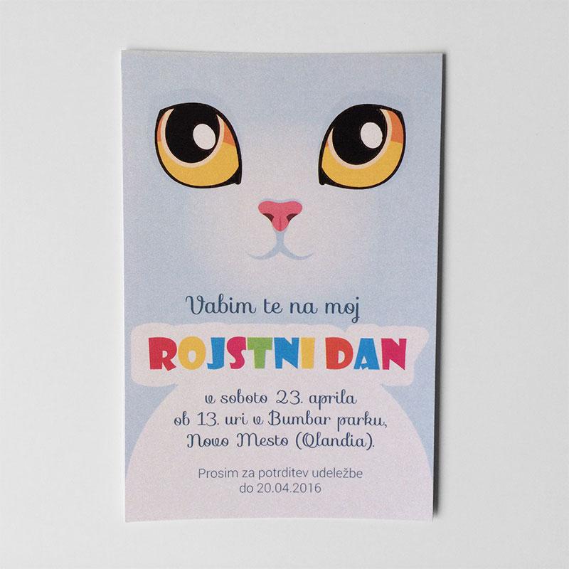 Vabilo za otroški rojstni dan: Mačka 1.1